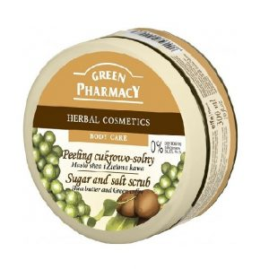Peeling cukrowo - solny Masło shea i Zielona kawa Green Pharmacy 300ml